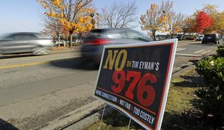 In this photo taken Oct. 24, 2019 in Tacoma, Wash., cars pass by a political sign opposing Washington state Initiative 976. The measure, sponsored by anti-tax activist Tim Eyman, will go before voters in the November 2019 election and would lower most taxes paid through annual vehicle tab registration to $30 and largely revoke the authority of state and local governments to add taxes and fees to that amount without voter approval. The measure would potentially cost state and local governments more than $4 billion in revenue over the next six years, according the state Office of Financial Management. (AP Photo/Ted S. Warren)