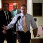 Rep. Jim Jordan, Ohio Republican, said that typically when committees conduct closed-door depositions, the chairmen and ranking members each receive a copy of the transcribed interview. That isn't happening in the impeachment inquiry, Mr. Jordan said. (Associated Press)
