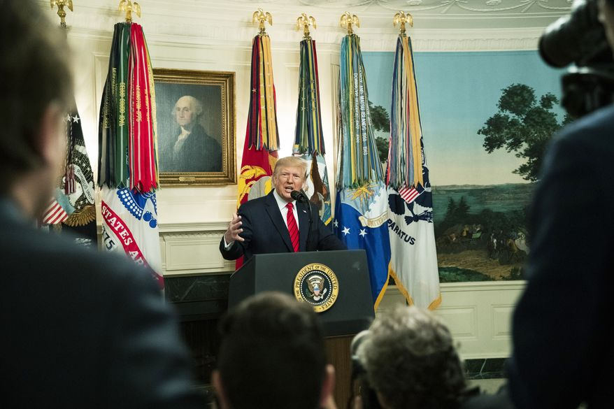 President Donald Trump speaks Sunday, Oct. 27, 2019 in the Diplomatic Room of the White House in Washington, announcing that Abu Bakr al-Baghdadi, the shadowy leader of the Islamic State group who presided over its global jihad and became arguably the world's most wanted man, is dead after being targeted by a U.S. military raid in Syria. (AP Photo/Manuel Balce Ceneta)