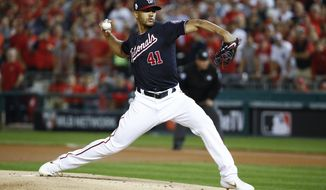 Washington Nationals pitcher Joe Ross throws against the Houston Astros during the first inning of Game 5 of the baseball World Series Sunday, Oct. 27, 2019, in Washington. (AP Photo/Patrick Semansky)