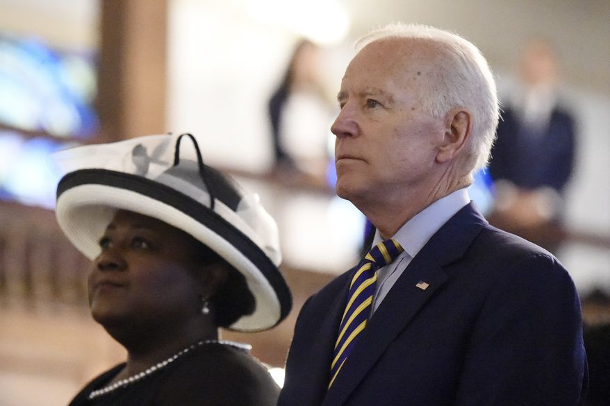 Democratic presidential candidate and former vice president Joe Biden worships at Morris Brown AME Church, Sunday, July 7, 2019, in Charleston, S.C. (AP Photo/Meg Kinnard)