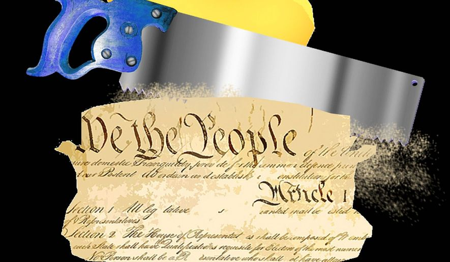 Illustration on proposals that threaten liberty and Constitution by Alexander Hunter/The Washington Times