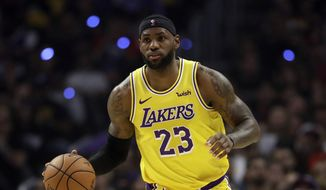 Los Angeles Lakers' LeBron James during an NBA basketball game against the Los Angeles Clippers Tuesday, Oct. 22, 2019, in Los Angeles. (AP Photo/Marcio Jose Sanchez)