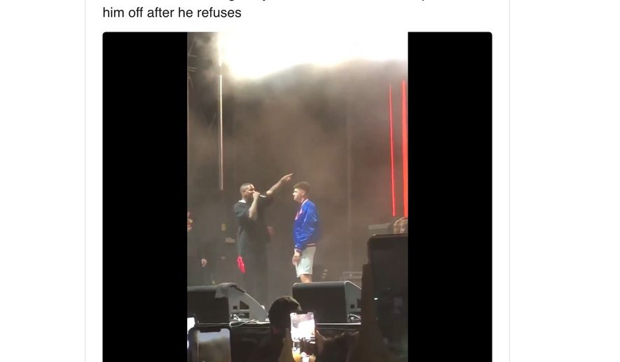 """Rapper """"YG"""" kicks a young fan out from the Mala Luna music festival on Oct. 27, 2019 because he refused to curse out President Trump before a San Antonio audience. (Image: Twitter, XXL Magazine tweet screenshot)"""