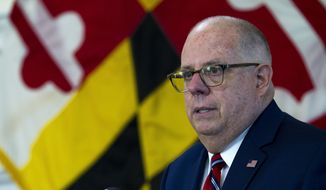 Maryland Gov. Larry Hogan speaks at Maryland's State Capitol, in Annapolis, Md.  (AP Photo/Jose Luis Magana, File) **FILE**