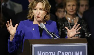 FILE - In this Nov. 4, 2014 file photo, Sen. Kay Hagan, D-N.C., gives her concession speech during an election night rally in Greensboro, N.C. Hagan. Family of former U.S. Sen. Kay Hagan issued a statement Monday, Oct. 28, 2019 that said Hagan died unexpectedly Monday morning. She was 66.(AP Photo/Gerry Broome, File)
