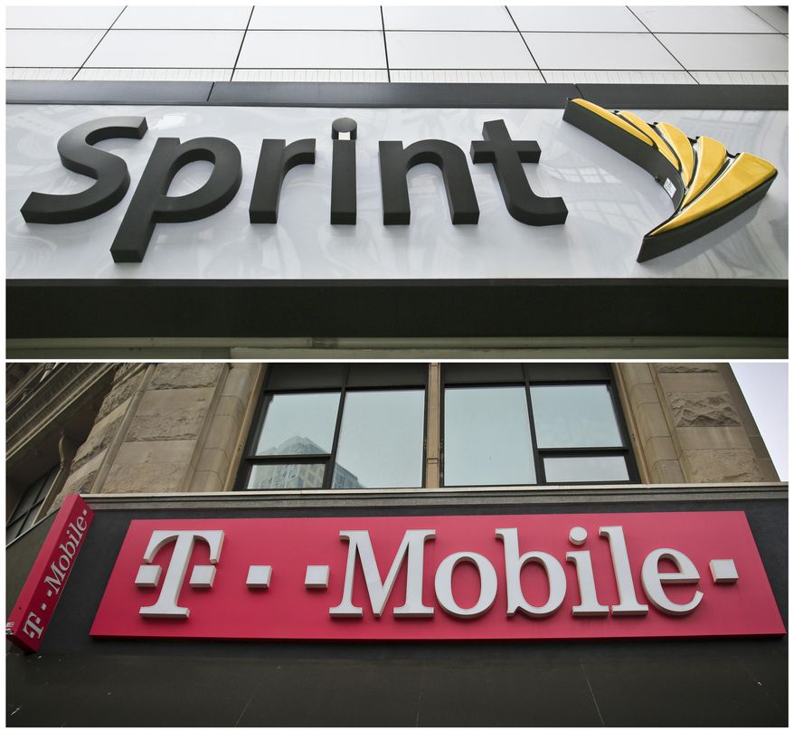 This combination of April 30, 2018, file photos shows signage for a Sprint store in New York's Herald Square, top, and signage at a T-Mobile store in New York. (AP Photo/Bebeto Matthews, File)