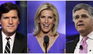 Fox News continues to dominate ratings across the entire cable realm; a new poll finds that 77% of the network's viewers are conservative. (Associated Press photographs)