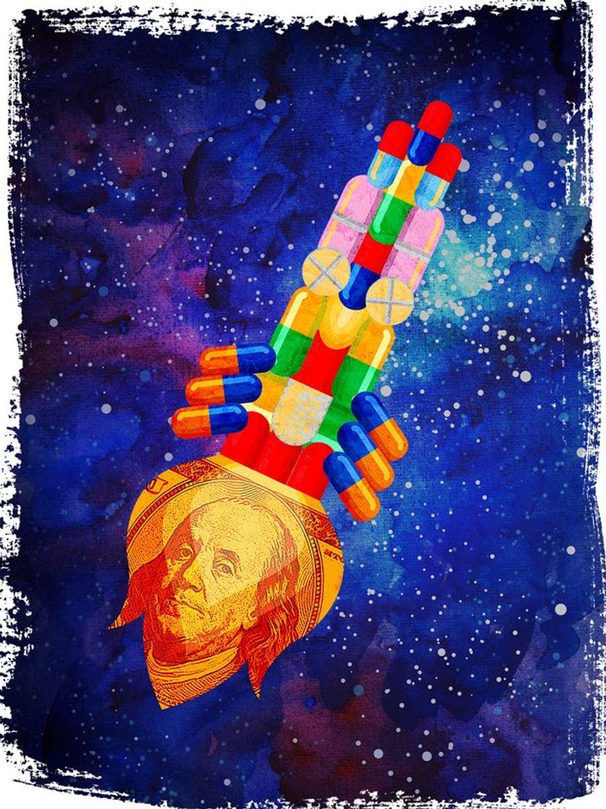 Skyrocketing Drug Costs Illustration by Greg Groesch/The Washington Times