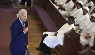 FILE - In this July 7, 2019 file photo, Democratic presidential candidate and former vice president Joe Biden speaks at Morris Brown AME Church in Charleston, S.C. A Catholic priest in South Carolina denied communion to Joe Biden over the weekend, a decision purportedly made over the former vice presidents stance on abortion. It illustrates the tricky challenge facing presidential candidates as they share their faith on the trail: How to balance the private and deeply personal values of their religions with a public campaign schedule that pushes them to authentically choose a side in polarizing moral debates? (AP Photo/Meg Kinnard, File)