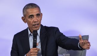Former President Barack Obama speaks during the Obama Foundation Summit at the Illinois Institute of Technology in Chicago, Tuesday, Oct. 29, 2019. (Ashlee Rezin Garcia/Chicago Sun-Times via AP)