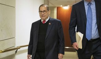Rep. Jerrold Nadler, D-N.Y., leaves a closed door impeachment inquiry on Capitol Hill in Washington, Tuesday, Oct. 29, 2019, where a joint committee is interviewing an Army officer at the National Security Council who twice raised concerns over the Trump administration's push to have Ukraine investigate Democrats and Joe Biden. (AP Photo/Manuel Balce Ceneta)