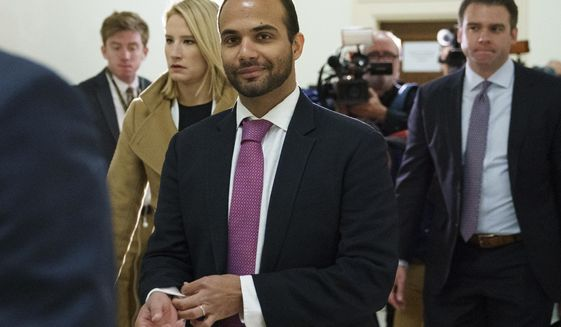 FILE - In this Oct. 25, 2018, file photo, George Papadopoulos, the former Trump campaign adviser who triggered the Russia investigation, arrives for his first appearance before congressional investigators, on Capitol Hill in Washington. Paperwork was filed Tuesday, Oct. 29, 2019 for Papadopoulos to run for the Congressional seat being vacated by Democrat Katie Hill who is resigning amid an ethics investigation. (AP Photo/Carolyn Kaster, File)