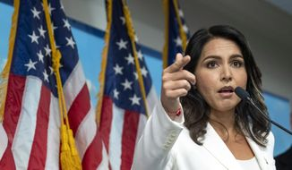 Then-Democratic presidential candidate U.S. Rep. Tulsi Gabbard, D-Hawaii, speaks during a news conference at the 9/11 Tribute Museum, Tuesday, Oct. 29, 2019, in New York. (AP Photo/Mary Altaffer) ** FILE **