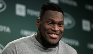 "The New York Jets released offensive guard Kelechi Osemele last Saturday for an ""unexcused absence"" and having unauthorized surgery on an injured shoulder. (ASSOCIATED PRESS)"