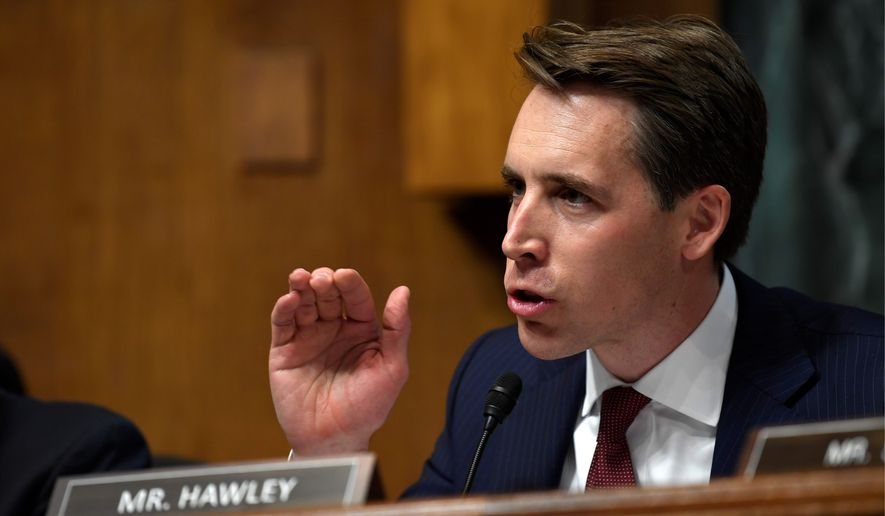 Josh Hawley, R-Mo., questions Attorney General William Barr during a Senate Judiciary Committee hearing on Capitol Hill in Washington, Wednesday, May 1, 2019. (AP Photo/Susan Walsh)