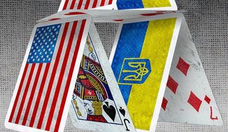 Ukraine House of Cards Illustration by Greg Groesch/The Washington Times