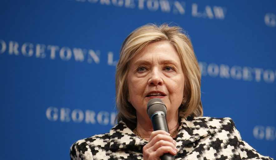 Former Secretary of State Hillary Clinton speaks, Wednesday, Oct. 30, 2019, at Georgetown Law's second annual Ruth Bader Ginsburg Lecture, in Washington. (AP Photo/Jacquelyn Martin)  ** FILE **
