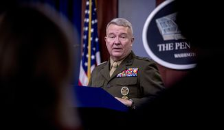 U.S. Central Command Commander Marine Gen. Kenneth McKenzie speaks, Wednesday, Oct. 30, 2019, at a joint press briefing at the Pentagon in Washington on the Abu Bakr al-Baghdadi raid. (AP Photo/Andrew Harnik)