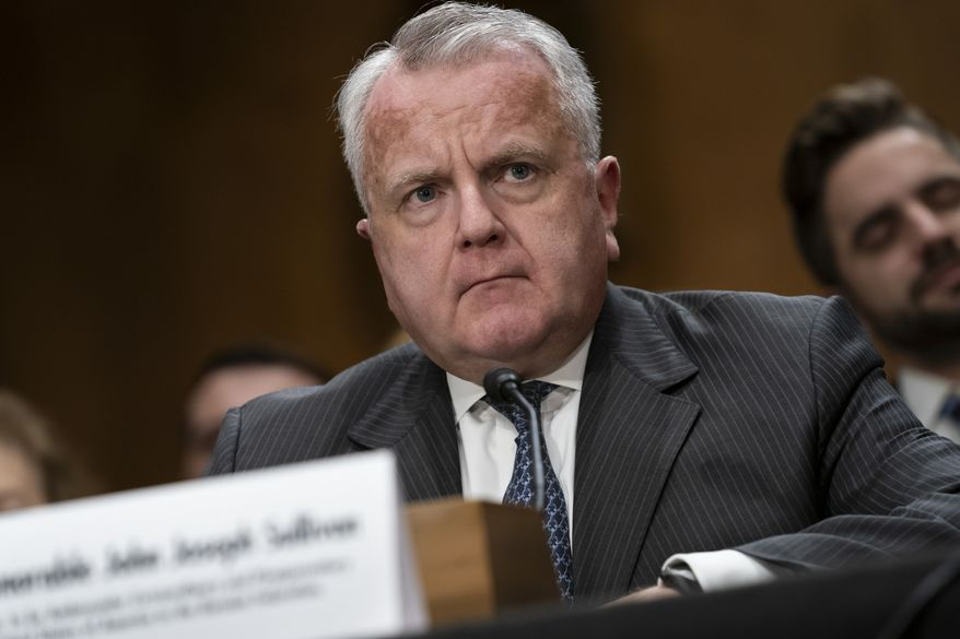 Deputy Secretary of State John Sullivan appears before the Senate Foreign Relations Committee for his confirmation hearing to be the new U.S. ambassador to Russia, on Capitol Hill in Washington, Wednesday, Oct. 30, 2019. President Donald Trump's nominee faced questions about Russian election interference and the ouster of the U.S. ambassador to Ukraine at his Senate confirmation hearing. (AP Photo/J. Scott Applewhite)