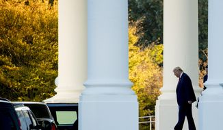 President Donald Trump walks out of the North Portico of the White House in Washington, Monday, Oct. 28, 2019, to travel to Andrews Air Force Base, Md., and then on to Chicago. (AP Photo/Andrew Harnik)