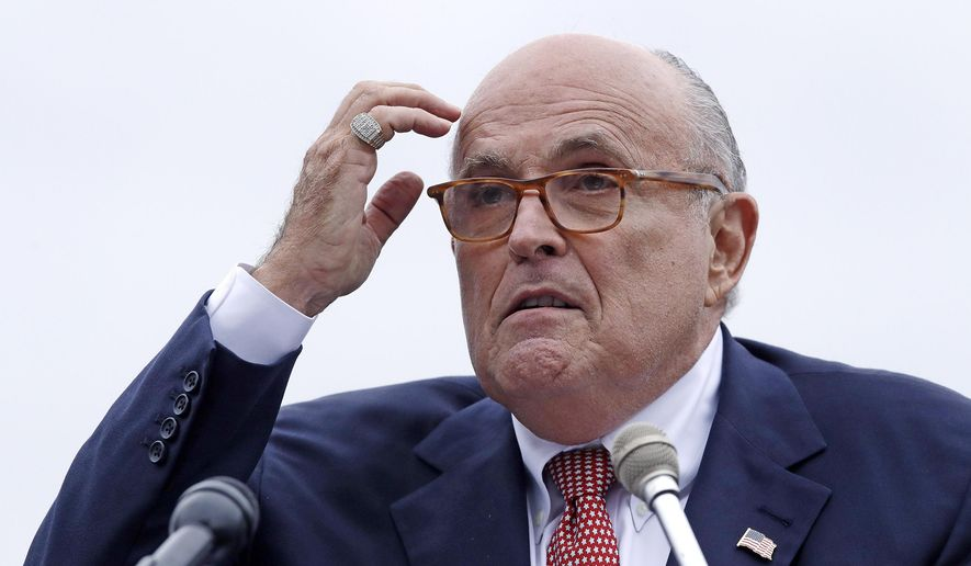 In this Aug. 1, 2018, file photo, Rudy Giuliani, attorney for President Donald Trump, addresses a gathering during a campaign event in Portsmouth, N.H. House committees have subpoena Giuliani for documents related to Ukraine. (AP Photo/Charles Krupa, File)