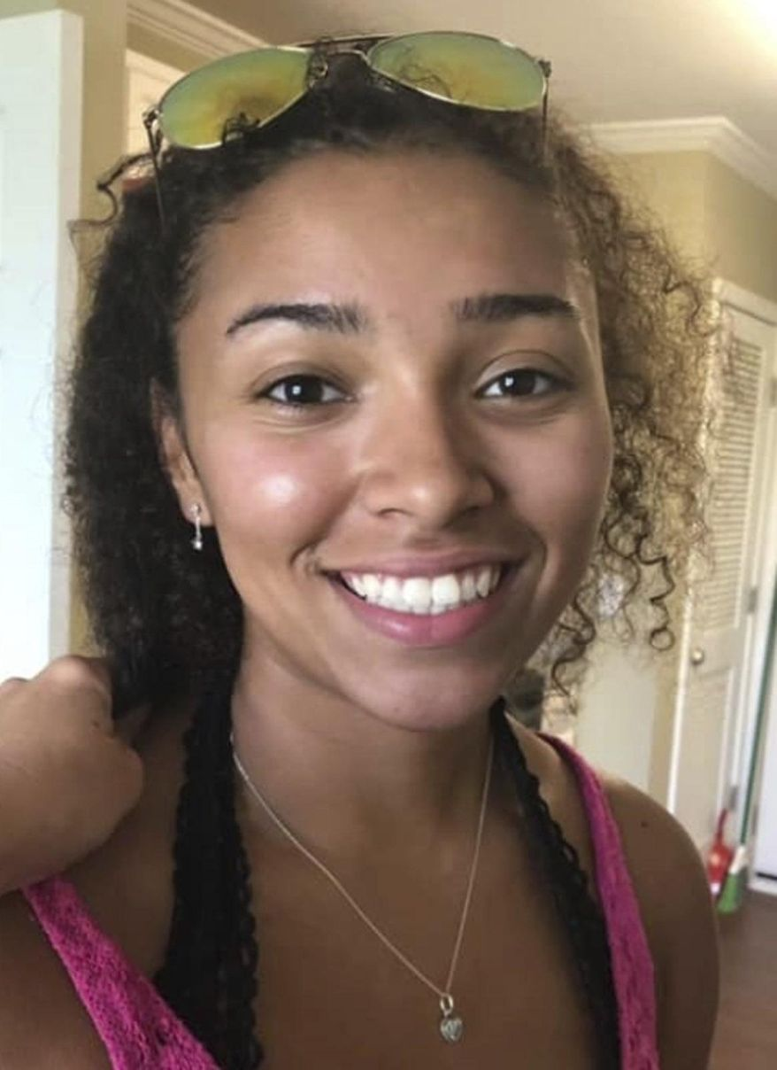 This undated photograph released by police in Auburn, Ala., shows Aniah Haley Blanchard, 19, who is missing. The state of Alabama offered a $5,000 reward for information in her disappearance on Wednesday, Oct. 30, 2019. Authorities say they don't believe the college student went missing on her own. (Auburn Police Division via AP)