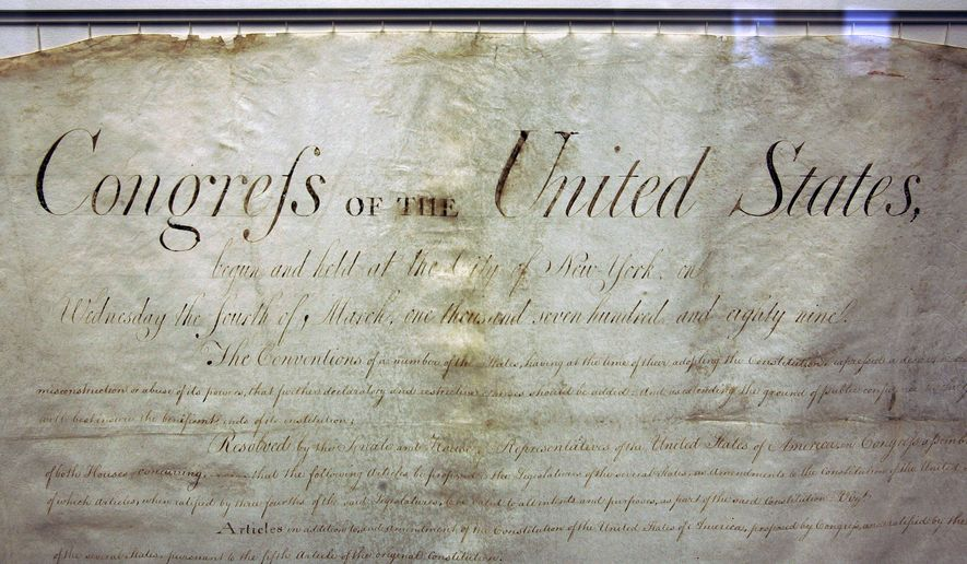 This view shows the top of  New Jersey's original manuscript Bill of Rights on display Thursday, Nov. 20, 2008, in Trenton, N.J., as New Jersey marks the 219th anniversary of becoming the first state to ratify the Bill of Rights on Nov. 20, 1789. The Bill of Rights became the first 10 amendments to the United States Constitution.   (AP Photo/Mel Evans)