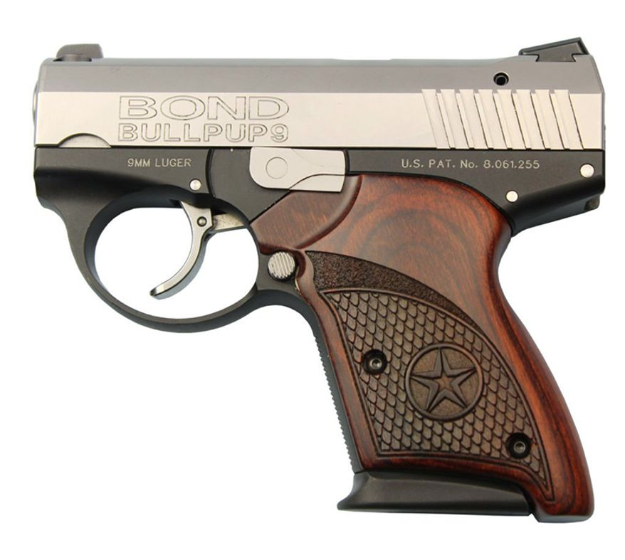 The Bond BullPup9 from Bond Arms is an ultra-compact 9mm featuring signature Bond Arms Engraved Rosewood Grips. The new BullPup9 is the only Bullpup Style handgun on the market