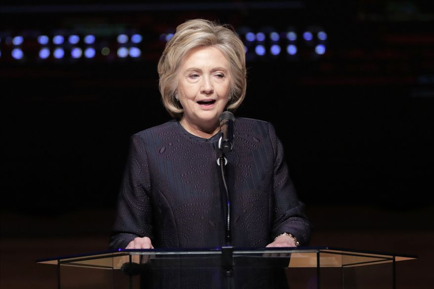 Former Secretary of State Hillary Rodham Clinton speaks during funeral services for the late U.S. Rep. Elijah Cummings, Friday, Oct. 25, 2019, in Baltimore. The Maryland congressman and civil rights champion died Thursday, Oct. 17, at age 68 of complications from long-standing health issues. (AP Photo/Julio Cortez)