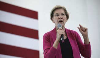 Democratic presidential candidate Sen. Elizabeth Warren, D-Mass., campaigns Wednesday, Oct. 30, 2019, at the University of New Hampshire in Durham, N.H. (AP Photo/ Cheryl Senter)