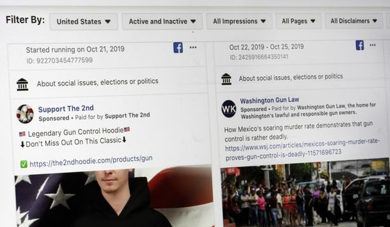 """This photo shows a search for political ads that were on Facebook displayed on a computer screen Thursday, Oct. 31, 2019, in New York. Twitter's ban on political advertising is ratcheting up the pressure on Facebook and Mark Zuckerberg to follow suit. Zuckerberg doubled down on Facebooks approach in a call with analysts Wednesday, Oct. 30, he reiterated Facebooks stance that political speech is important."""" (AP Photo/Richard Drew) **FILE**"""
