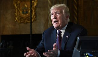 In this Thursday, Nov. 22, 2018, file photo, President Donald Trump speaks to reporters following his teleconference with troops from his Mar-a-Lago estate in Palm Beach, Fla. (AP Photo/Susan Walsh, File)
