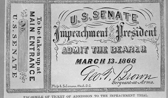 FILE - In this Feb. 15, 1974, a  facsimile of a ticket used during the impeachment trial of Andrew Johnson is photographed in Washington. As House Democrats quickly move forward with impeachment proceedings against President Donald Trump, much remains unknown about how a Senate trial would a proceed, including what the charges would be. (AP Photo/Charles Tasnadi, File)