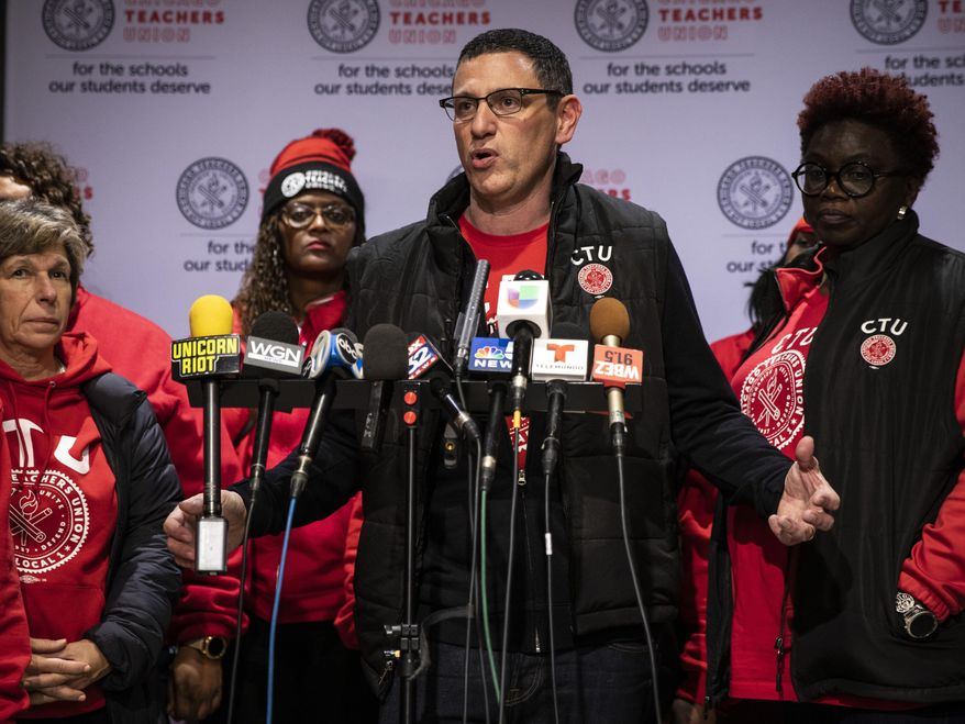 Chicago Teachers Union President Jesse Sharkey speaks during a news conference at the union's Near West Side headquarters, Wednesday, Oct. 30, 2019, in Chicago. (Ashlee Rezin Garcia/Chicago Sun-Times via AP)