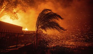 Strong, dry winds send embers flying as the Hillside Fire burns in San Bernardino, Calif., on Thursday, Oct. 31, 2019. The blaze, which ignited during red flag fire danger warnings, destroyed multiple residences. (AP Photo/Noah Berger)
