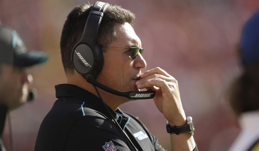 Carolina Panthers head coach Ron Rivera stands on the sidelines during the second half of an NFL football game against the San Francisco 49ers in Santa Clara, Calif., Sunday, Oct. 27, 2019. (AP Photo/Ben Margot)