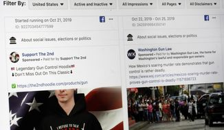This photo shows a search for political ads that were on Facebook displayed on a computer screen Thursday, Oct. 31, 2019, in New York. (AP Photo/Richard Drew)