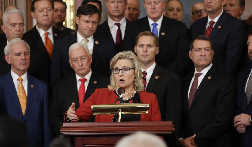 House Republican Conference chair Rep. Liz Cheney, R-Wyo., speaks during a news conference with other Republicans on Capitol Hill in Washington, Thursday, Oct. 31, 2019. (AP Photo/Pablo Martinez Monsivais)