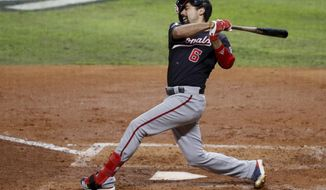 Washington Nationals' Anthony Rendon loses his helmet as he strikes out during the fourth inning of Game 7 of the baseball World Series against the Houston Astros Wednesday, Oct. 30, 2019, in Houston. (AP Photo/Sue Ogrocki)