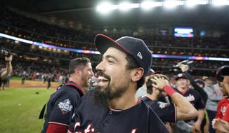 Washington Nationals third baseman Anthony Rendon celebrates after Game 7 of the baseball World Series against the Houston Astros Wednesday, Oct. 30, 2019, in Houston. The Nationals won 6-2 to win the series. (AP Photo/David J. Phillip)