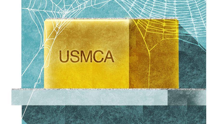 Illustration on the USMCA by Alexander Hunter/The Washington Times