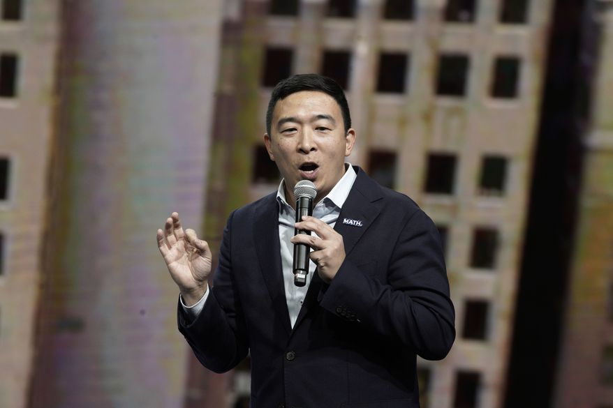 Democratic presidential candidate entrepreneur Andrew Yang speaks during the Iowa Democratic Party's Liberty and Justice Celebration, Friday, Nov. 1, 2019, in Des Moines, Iowa. (AP Photo/Nati Harnik)