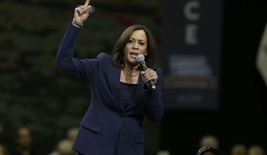 Democratic presidential candidate Sen. Kamala Harris speaks during the Iowa Democratic Party's Liberty and Justice Celebration, Friday, Nov. 1, 2019, in Des Moines, Iowa. (AP Photo/Nati Harnik)  **FILE**
