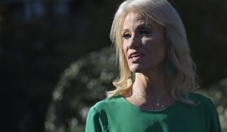 White House counselor Kellyanne Conway talks to reporters outside the West Wing of the White House in Washington, Friday, Nov. 1, 2019. (AP Photo/Susan Walsh)