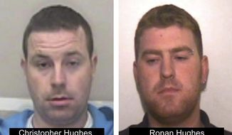 This undated photo issued on Tuesday Oct. 29, 2019 by Essex Police shows Ronan Hughes, right, and his brother Christopher Hughes from Northern Ireland, as the investigation widens into the deaths of 39 people who were found in truck container in southeastern England. Both are wanted on suspicion of manslaughter and human trafficking. (Essex Police via AP)