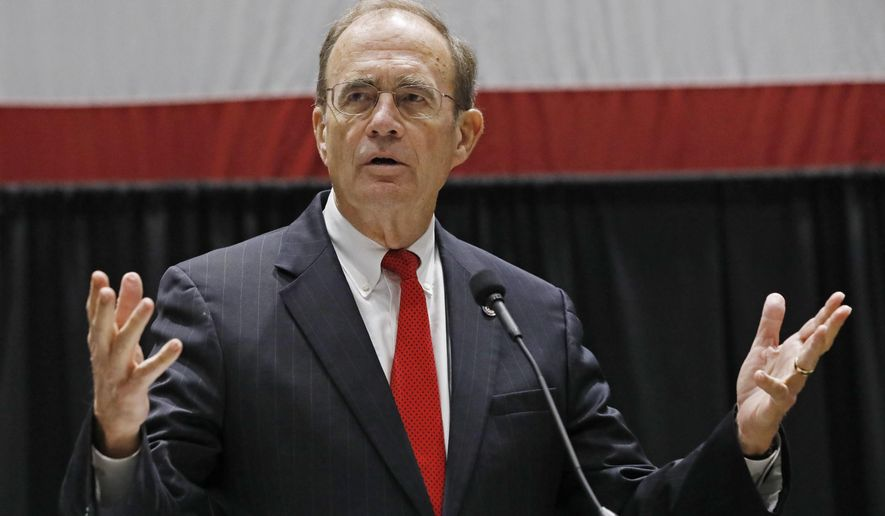 "Republican nominee for lieutenant governor and current Secretary of State, Delbert Hosemann, discusses his platform before the Mississippi Economic Council's annual ""Hobnob Mississippi,"" in Jackson, Miss., Thursday, Oct. 31, 2019. The social event is hosted by the state chamber of commerce and is one of the last big gatherings before the Nov. 5 elections. (AP Photo/Rogelio V. Solis)"