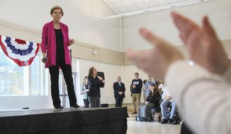 Democratic presidential candidate Sen. Elizabeth Warren, D-Mass., pauses while audience members applaud during a campaign event Wednesday, Oct. 30, 2019, at the University of New Hampshire in Durham, N.H. (AP Photo/ Cheryl Senter)