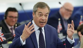 Brexit Party leader Nigel Farage delivers his speech Tuesday, Oct. 22, 2019 at the European Parliament in Strasbourg. Britain faces another week of political gridlock after British lawmakers on Monday denied Prime Minister Boris Johnson a chance to hold a vote on the Brexit divorce bill agreed in Brussels last Thursday. (AP Photo/Jean-Francois Badias)