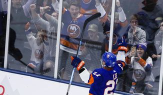 Fans cheer for New York Islanders' Anders Lee (27) after Lee scored a goal during the third period of the team's NHL hockey game against the Tampa Bay Lightning on Friday, Nov. 1, 2019, in Uniondale, N.Y. The Islanders won 5-2. (AP Photo/Frank Franklin II)